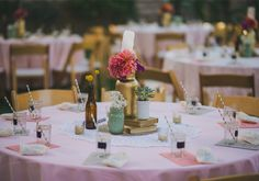 Colorful Bohemian wedding: Liz + Joshua painted mason jars and striped straws