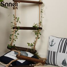 indoor Warsaws snnei boot ladder muons muur vintage decoratie gordijnen hout hennep touw(China (Mainland))
