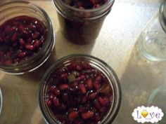 Pomegranate jalapeno jam - no sugar recipe. MADE JAN 2014.  Note, substituted apple juice for the suggested juices, added 1 1/2 cups of sugar due to fruit not being sweet enough.
