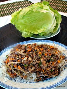 Yuk Sung - Chinese Lettuce Wraps - Inside each lettuce leaf is a little pile of treasures! A great dish to serve as a starter or at parties. Lovefoodies #Chinese #lettucewrap #yuksung #appetizer