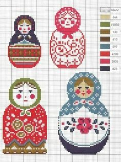 matryoshka cross stitch chart | REPINNED