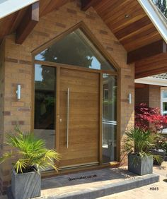 Contemporary Front Doors, oak iroko and other woods, Bespoke Doors Front Door Porch, Porch Doors, Front Porch Design, Wood Front Doors, Front Door Entrance, House Front Door, House With Porch, Oak Doors, House Entrance