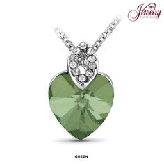 White Gold-Plated Austrian Crystal Heart Necklace - Assorted Colors at 90% Savings off Retail!