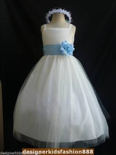 flower girl dress with light blue or silver sash $17