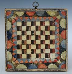 "American Incised and Paint Decorated Gameboard 11 1/2"" x 11 3/4"" late 19th century. (Note to self: inspiration for a fab' hooked rug)"