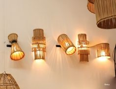 Here are 16 awesome ideas for diy Christmas decorations. Wall Sconce Lighting, Sconces, Bamboo Light, Bamboo Lamps, Rattan Lamp, Luminaire Mural, Wall Lights, Ceiling Lights, Blog Deco