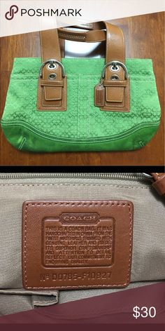 COACH Tote Handbag COACH Signature Buckle Tote, Fabric/Leather Trim in Kelly Green Saddle.  In good condition, gently used. Coach Bags Totes