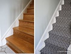 How to Install a Stair Runner - See the BEFORE and AFTER bare wood stairs and painted stairs with a pretty, modern stair runner. - Thrift Diving Floating Stairs, Floating Shelves, Painted Wood Stairs, Stair Runner Installation, Narrow Hallway Decorating, Staircase Makeover, Modern Stairs, Diy Carpet, Carpet Stairs