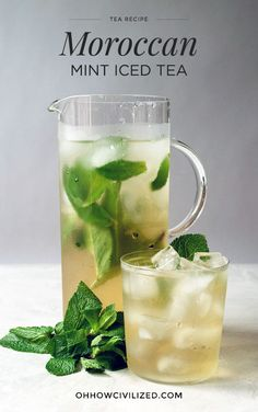 Moroccan Mint Iced Tea - - The Baccarat Hotel's Moroccan Mint Tea recipe. Iced Tea Recipes, Mint Recipes, Water Recipes, Refreshing Drinks, Summer Drinks, Drinks With Mint, Cold Drinks, Tea Drinks, Mint Iced Tea