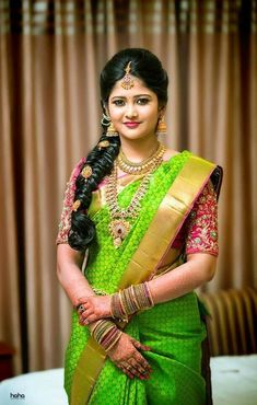 15 Popular South Indian Bridal Hairstyles for Engagement - TBG Bridal Store Bridal Hairstyle Indian Wedding, Bridal Hairdo, Indian Bridal Hairstyles, Indian Bridal Fashion, South Indian Bride Hairstyle, Saris, Silk Sarees, Indian Sarees, Wedding Saree Blouse Designs