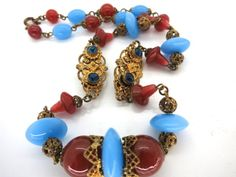 Vintage Deco Signed Czech Filigree Jewelled Glass Bead Necklace | eBay