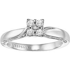 Keepsake Enchanted 1/5 Carat T.W. Diamond Princess Ring in 10kt White Gold  298 dollars