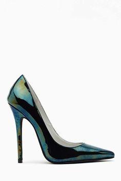 Jeffrey Campbell Darling Pump - Oil Slick on Black Patent Heels Pumps, Pump Shoes, Shoe Boots, Shoes Heels, Christian Louboutin, Crazy Shoes, Me Too Shoes, Mode Shoes, Killer Heels