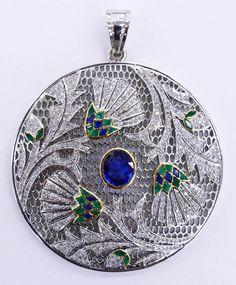Lot: Art Deco Platinum Diamond Emerald & Sapphire Thistle, Lot Number: 0201, Starting Bid: $1,200, Auctioneer: MBA Seattle Auction, Auction: Northwest Modernism & Fine Art - SESSION ONE, Date: February 24th, 2017 EET