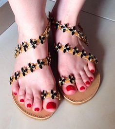 Luxurious Sandals Black Flower by PenelopesTemptations on Etsy