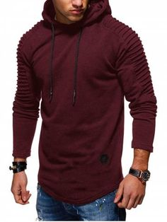 OTW Mens Casual Sport Autumn Winter Floral Print Irregular Hem Pullover Hoodies Sweatshirt