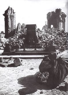 The ruins of Dresden Frauenkirche and the monument to Martin Luther, which had been destroyed during the bombing raid on the city 13 Feb 1945.