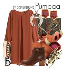 """Pumbaa"" by leslieakay ❤ liked on Polyvore featuring GUESS, H&M, A.P.C., Lele Sadoughi, MARTI, disney, disneybound and disneycharacter"