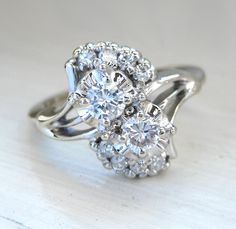 Vintage Art Nouveau Round Brilliant Diamond Engagement Anniversary Ring 14kt White Gold. $575.00, via Etsy.