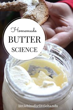 Simple edible science for kids with homemade butter in a mason jar. Easy science activity that kids can do in the kitchen. (Homemade Butter For Kids) Farm Activities, Science Activities For Kids, Science Ideas, Science Classroom, Preschool Science, Teaching Science, Classroom Ideas, Preschool Cooking, Preschool Learning