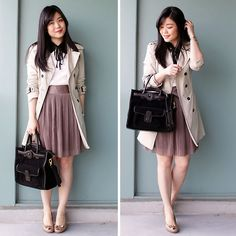 Knee length skirts are great to add to your interning attire.