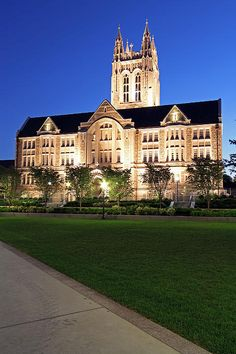Stunning and spectacular Gasson Hall at Boston College at night. Photographed on a beautiful summer night in August 2013 after newly completed renovation of the University's most iconic building. The building was restored to its original character and is approaching 100 years. www.RothGalleries.com