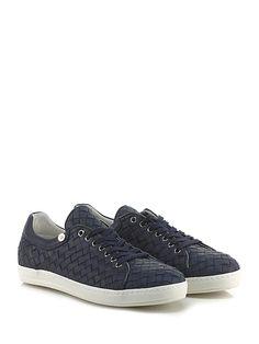CESARE P. - Sneakers - Uomo - Sneaker in pelle intrecciata con suola in gomma, tacco 25. - NAVY - € 245.00