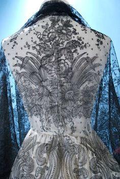 handmade french chantilly lace shawl - 1860