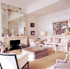 neutral palette / beige / pink / velvet / wicker / mirror / by Veere Grenney / London / living room Living Pequeños, Home And Living, Living Spaces, Living Rooms, Feminine Apartment, London Living Room, Living Room Photos, Piece A Vivre, Design Blog