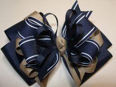 Navy and Khaki Monogram TODDLER Hair Bow