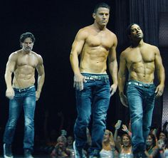 February 2015- Channing Tatum, front and center, competing for attention with his fellow shirtless hunks Matt Bomer, Joe Manganiello, and Adam Rodriguez
