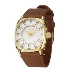 Nixon Men's 'The Revolver' Goldplated Steel and Leather Quartz Watch