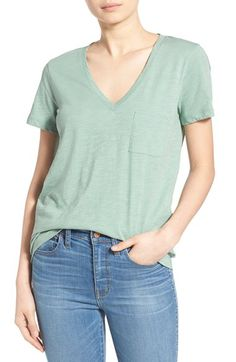 Madewell Madewell 'Whisper' Cotton V-Neck Tee available at #Nordstrom