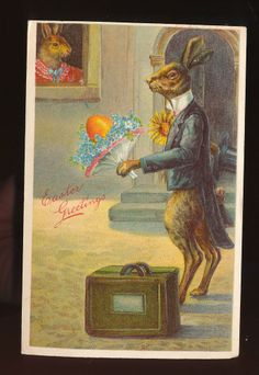 Dressed Rabbit with Lady Bunny & Bouquet,bags,top hat Easter Postcard-kkk971