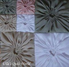 Square Yo-Yos - Free Pattern & Tutorial - Square Yo-Yo Quilted Pillow Case by Ulla