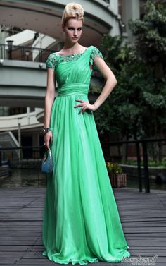 New Off-the-shoulder Chiffon Green Bridemaid cocktail Long evening dress