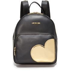 Moschino Love Moschino Backpack (820 PEN) ❤ liked on Polyvore featuring bags, backpacks, black, metallic backpack, zip top bag, genuine leather bag, metallic leather bag and leather backpack bag