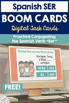 Do you need an easy way for students to practice forms of ser in Spanish? Make learning conjugation easy and fun with these free Boom Cards! These cards are perfect practice after an introductory lesson to ser. These no-prep, self-checking digital task cards focus on basic conjugation related to origin, characteristics, and relationships, and align to Así Se Dice 1 Chapter 1. Best of all, they're FREE! #spanishfreebie #spanishresource #spanishboomcards #spanishvocabulary Spanish Verb Ser, Spanish Grammar, Spanish Teacher, Spanish Teaching Resources, Teacher Resources, Homeschooling Resources, Spanish Lesson Plans, Spanish Lessons, Forms Of Ser