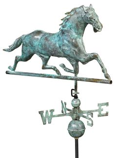 Horses Weather Vane, Blue Verde Copper from One Kings Lane by Open-Air Charm -