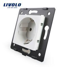 Livolo Toma de Piezas de BRICOLAJE, Materiales De Plástico blanco, estándar de LA UE, Tecla de función Para Toma de corriente de LA UE, VL-C7-C1EU-11