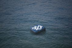 south korean design studio craft combine has recycled plastic containers to create a floating furniture series for use during flood-related emergencies. Korean Design, Plastic Containers, Craft Materials, Material Design, Recycling, Rings For Men, Objects, Crafts, Furniture
