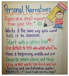 Anchor chart for personal narratives