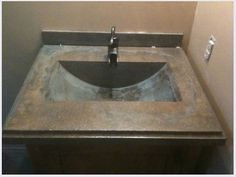 diy concrete counters and sinks downstairs bathroom ?