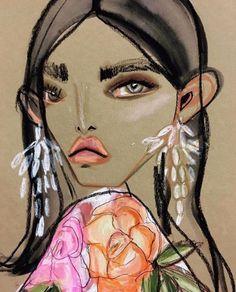 The Art of Fashion: 10 Top Fashion Illustrators Who Blow Our Mind - Eluxe Magazine Fashion Illustration Sketches, Fashion Design Sketches, Art Sketches, Art Drawings, Illustration Art, Drawing Faces, Art Illustrations, Fashion Painting, Fashion Art