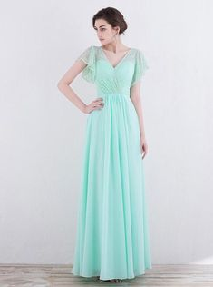 Mint Green Bridesmaid Dresses,Long Prom Dress with Sleeves,Elegant Bridesmaid Dress Lace,PD00337