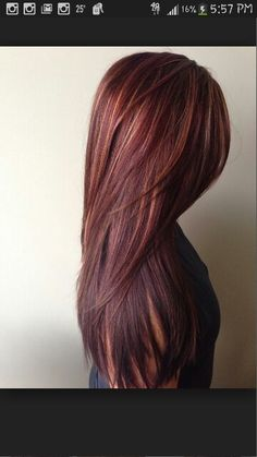 Red brown hair with copper/carmel highlights. Going to do this after my baby is born :)