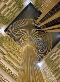 One of the city's major convention hotels, this Hyatt was designed in 1967 by famed Atlanta architect John Portman. A column in the center of the lobby atrium rises to the skylight above the 23 stories. Downtown Atlanta, Georgia.