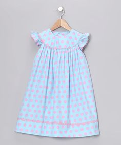 Take a look at this Blue & Pink Angel-Sleeve Dress - Infant, Toddler & Girls by Beehave on #zulily today!