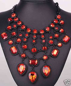 New Design Statement woman crystal chunky pendant chain charm necklace 1130