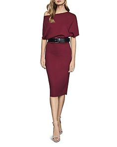 Reiss Madison Cap-sleeve Bodycon Dress In Berry Reiss Fashion, Bodycon Dress With Sleeves, World Of Fashion, Cap Sleeves, Dress Outfits, Two Piece Skirt Set, Dresses For Work, Berry, Skirts